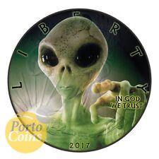 2017 1oz American Silver Eagle Liberty Glow-In-The-Dark Alien Ruthenium Box Coa