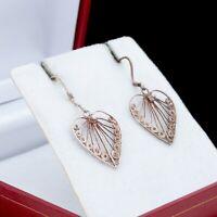 Antique Vintage Art Deco 925 Sterling Silver Sweetheart Filigree Dangle Earrings