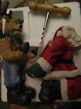 CUTE CHRISTMAS SANTA & REINDEER WINE BOTTLE HOLDER & CORKSCREW - EUC