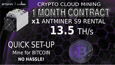 1 Month Bitmain S9 AntMiner Rental 13.5+TH Cloud Mining Contract BITCOIN SHA-256