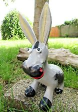 More details for fair trade hand made carved wooden grey donkey sculpture ornament statue