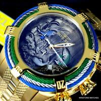 Invicta Bolt Tri Cable Green Blue Koi 54mm Gold Plated Steel Chrono Watch New