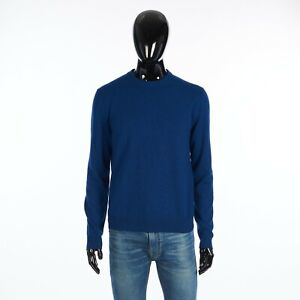 BERLUTI 1010$ Crewneck Sweater In Blue Cashmere With 1895 Embroidery