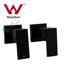 Square 1/4 Turn Wall Twin Shower Head Taps Brass Set  Vanity Basin Spout Black