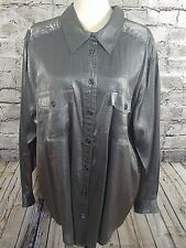 CAROLE LITTLE Womens Blouse Size 2X Pewter Gray Shiny l/s Button Down  (w-705)