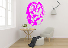Headphones Over Microphone Music Transfer Wall Art Decal MU27