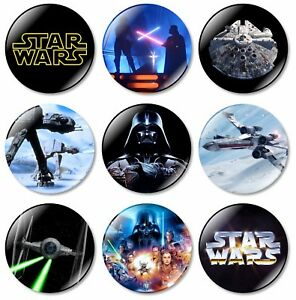 9 x Star Wars 32mm BUTTON PIN BADGES Empire Skywalker Yoda Darth Vader Jedi Gift