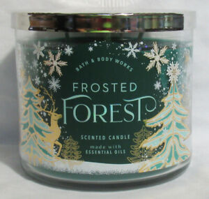 Bath & Body Works 3-wick 14.5 oz Jar Scented Candle FROSTED FOREST w/ ess oils