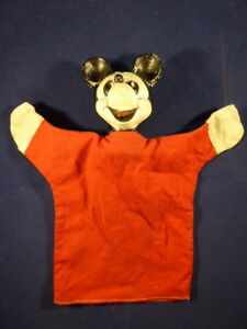 EARLY VINTAGE MICKEY MOUSE HAND PUPPET – W.D.P. Walt Disney Productions