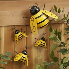 Decorative Metal Bumble Bee Garden Accents - Lawn Ornaments - Set of 4