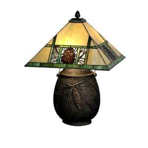 Meyda Lighting 19.5'H Pinecone Ridge Table Lamp, Beige Amber Zasdy 59 - 67850