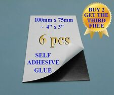 "6+1 Self adhesive flexible refrigerator magnet sheets 10x7.5cm 4x3"" peel & stick"