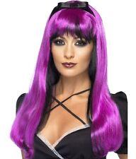 Mujer Halloween Peluca Para Disfraz EMBRUJADORA Dk Rosa / Negro NUEVO De SMIFFYS
