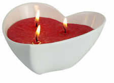 large multi wick candle vegetable Stearin Heart shape - Dish white porcelain