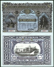 ZANZIBAR LIMITED EDITION 1000 RUPEES 2-SIDED REED FANTASY ART BANKNOTE DESIGN!