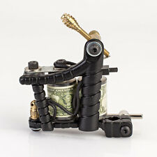 New PRO Tattoo Machine Gun Liner Shader Custom Dual 10-Wrap Coils Supply - Black