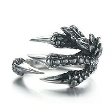 UK Unisex Gothic Punk Biker Fantasy Antique Silver Dragon Claw Ring Adjustable