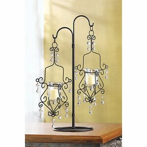 Black Chic Hanging Candle Holders on Wrought Iron Stand Wedding Centerpieces