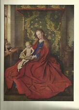 Die Madonna von Jan van Eyck - Kunstblatt aus 1950 Bild  Farbdruck Art Print