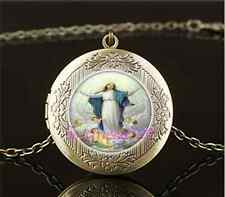 Vintage Assumption of Mary Cabochon Glass Brass Locket Pendant Necklace