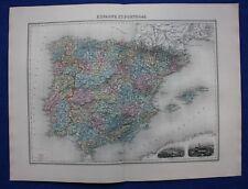ORIGINALE ANTICO MAPPA SPAGNA E PORTOGALLO, Madrid, Lisbona, MIGEON, 1891