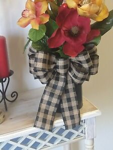 "Farmhouse Wired 10"" Black and Kakhi Plaid Burlap Bow Wedding,Wreath,Home Decor"