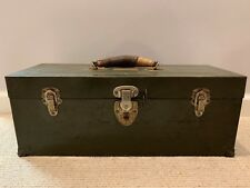 New listing Vintage Union Chest Steel Tool Box Olive Green Leather Handle 19x7x7  00006000 Made in Usa
