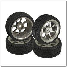 4 x RC1:10 On-Road Car Plastic Drift Tire Sets with Grey Alloy 7-Spoke Wheel Rim