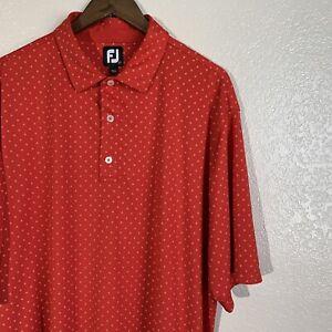Footjoy FJ Lisle Diamond Print Red Golf Polo Shirt Size 2XL