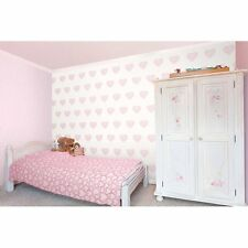 DECORLN CAROUSEL PINK WHITE HEARTS CHILDRENS KIDS NURSERY BABY WALLPAPER DL21115