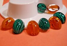 Loose Gem Stones 2 Amber & 2 Emerald 25 x 18 mm Oval w Dome Top glass Cabochon