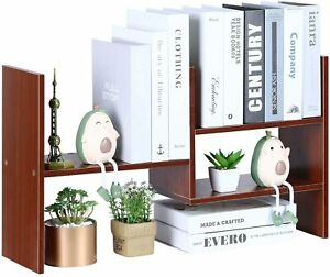 Desktop Bookshelf Desk Organizer Wood Storage Rack Tabletop Display Shelf Brown