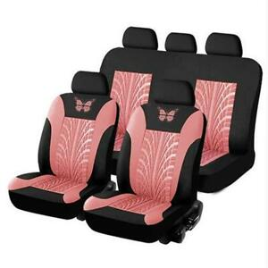 9Pcs Full Set Black/Pink Car Suv Seat Covers Interior Front & Rear Accessories