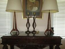 DANISH MODERN MID-CENTURY EAMES ERA TULIP WOOD TABLE LAMPS WORKING