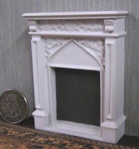 "HALF  SCALE ~ FIREPLACE ~ Dollhouse ~ White ~ 1/24 ~ 1/2"" ~ Room Box ~ Artisan"