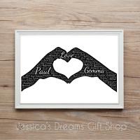 Couple Boyfriend Girlfriend Lovers Personalised Word Art Print Gift Valentines