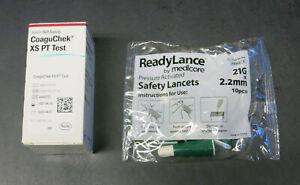 New Roche CoaguChek XS PT INR 6 Test Strips + Code Chip + Lancets EXP 6/30/2021