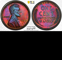 1913 PCGS PR65 Explosive Colors◉ Mintage 2,983 Matte Proof Lincoln Wheat Cent 1C