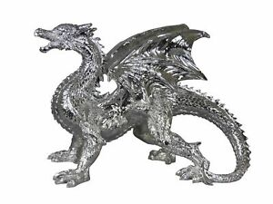 Large Electroplated Silver Welsh Dragon Ornament Figurine Game of Thrones Mythic