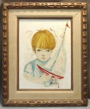 BOY with SAILBOAT Oil on Canvas William Ray McCauley (1931-1989) Art Painting