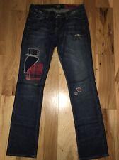 Lucky Brand Denim ZOE Straight Leg Jeans Distressed Patchwork Jeans sz 6 / 28