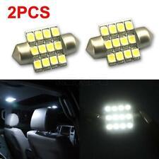 2x White 3528 LED Bulbs 27mm / 28mm 12 SMD Festoon Dome Map Light DE3021 DE3022