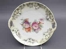 vintage porcelain lusterware serving plate Germany 1930's floral with handles