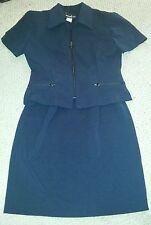 "Vintage Retro ""Positive Attitude"" Navy Skirt Set Size 6 - Zip front jacket"
