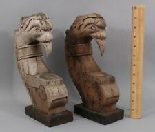 Antique Architectural Fragments Carved Wood Folk Art Bird Head Sculpture