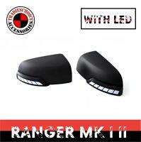 MIRROR COVER W/ LED MATTE BLACK FITS FORD RANGER PX PX2 PX3 2011 - 2020 Everest