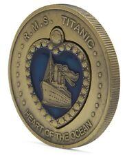 TITANIC Heart of Ocean Pendant Bronze Coin Naked Kate Winslet Rose Gold Lustre