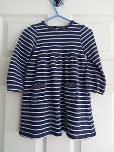 Girl's Long Sleeved Striped Jersey Dress from John Lewis Age 18-24 Months