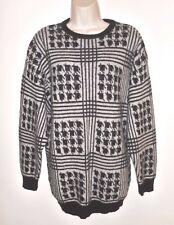 Wool Angora Sweater Houndstooth M Black Gray Plaid Tunic Medium