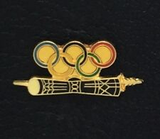 Vintage Archery Olympic Pin Badge~no date~ Quiver ~ 5 colored rings ~ gold tone
